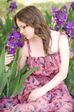 woman in spring violet taffies Stock Photo