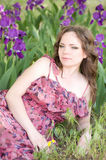 Woman in spring violet taffies Royalty Free Stock Photography