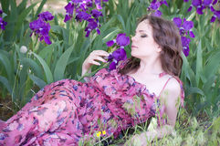 Woman in spring violet taffies Stock Image