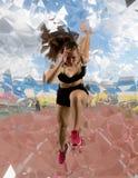 Woman sprinter leaving starting royalty free stock image