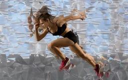 Woman sprinter leaving starting stock photos