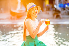 Woman with Spritz Aperol drink Royalty Free Stock Photo
