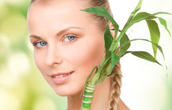 Woman with sprout Stock Photo