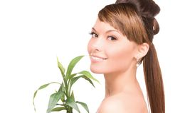 Woman with sprout Royalty Free Stock Photography