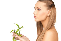 Woman with sprout Royalty Free Stock Image