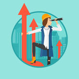 Woman with spyglass on rising arrow. A business woman standing on the top of arrow and looking through spyglass on the background of modern city. Vector flat Royalty Free Stock Image