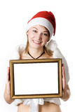 Woman with sqare frame Stock Photo