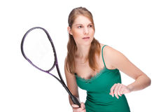 Woman with squash racket Royalty Free Stock Photo