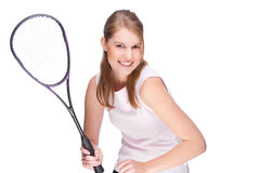Woman with squash racket Stock Photography