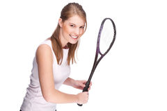 Woman with squash racket. Full isolated studio picture from a young woman with squash racket Stock Photos
