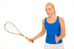Woman with squash racquet Royalty Free Stock Images