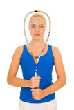 Woman with squash racquet Stock Image