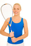Woman with squash racquet Royalty Free Stock Photos