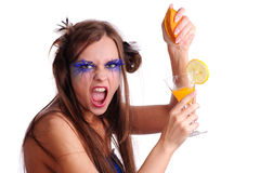 Woman squeeze a orange Stock Photos