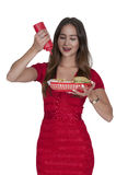 Woman Squeezing Catsup Royalty Free Stock Photo