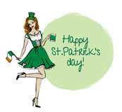 Woman in St Patricks day costume Stock Photography