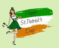 Woman in St Patricks day costume. Illustration of woman in St Patricks day costume with flag and beer Stock Photos