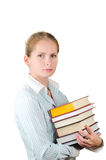 Woman with stack of books Royalty Free Stock Photography