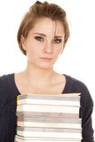 Woman stack of books holding very serious Royalty Free Stock Photo