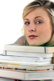 Woman with stack of books Stock Images
