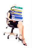 Woman with stack of folders isolated Stock Images