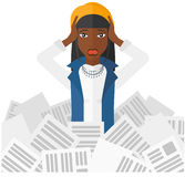 Woman in stack of newspapers royalty free illustration