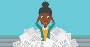 Woman in stack of newspapers. vector illustration