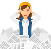 Woman in stack of newspapers Stock Images