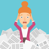 Woman in stack of newspapers. Royalty Free Stock Images