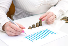 Woman stacks coins. Counting every penny. Stock Images