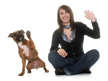 Woman and staffordshire bull terrier Stock Image