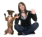 Woman and staffordshire bull terrier Royalty Free Stock Photography