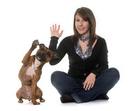Woman and staffordshire bull terrier Stock Photo
