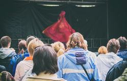 Woman on the stage. stock photos