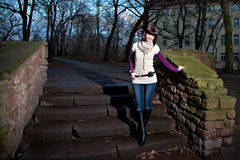 Woman on stair at twilight Royalty Free Stock Photography