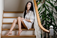 Woman at the stairs Royalty Free Stock Photo