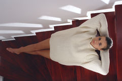 Woman at the stairs. Inscenization about fashion for woman Stock Images