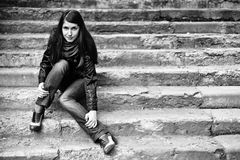 A woman on stairs Stock Images