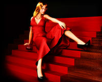 Woman on stairs Royalty Free Stock Images