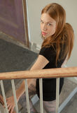 Woman on Stairs Stock Photo