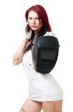 Woman stand and hold welding mask Stock Images