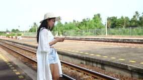 Woman stand platform waiting train. Video of Woman stand platform waiting train stock video