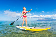 Woman on Stand Up Paddle Board. Attractive Woman on Stand Up Paddle Board, SUP, Tropical Blue Ocean, Hawaii Royalty Free Stock Photo