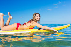 Woman on Stand Up Paddle Board. Attractive Woman on Stand Up Paddle Board, SUP, Tropical Blue Ocean, Hawaii stock photography