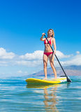 Woman on Stand Up Paddle Board. Attractive Woman on Stand Up Paddle Board, SUP, Tropical Blue Ocean, Hawaii Stock Images