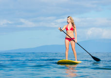 Woman on Stand Up Paddle Board. Young Attractive Woman on Stand Up Paddle Board, SUP, in the Blue Waters off Hawaii, Active Life Concept Stock Photos