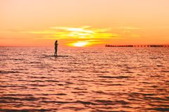 Woman stand up paddle boarding at dusk on a quiet sea with beautiful sunset. Woman stand up paddle boarding at dusk on a flat warm quiet sea with sunset Stock Photos