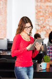 Woman stand using tablet smile, business people modern office Stock Photo