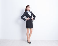 Woman stand with white wall royalty free stock photo
