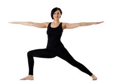 Woman stand in yoga pose - Hight Lunge isolated Stock Photography